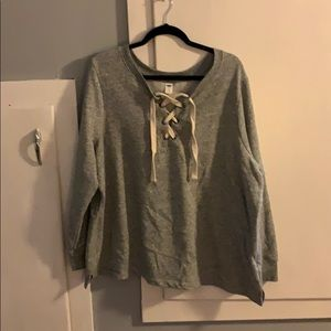 Grey lace up front sweater